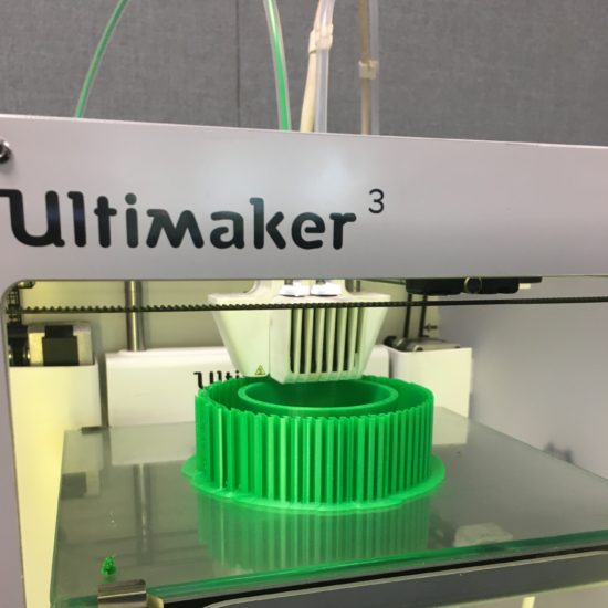 This is an image of an Ultimaker 3-D printer making a part.